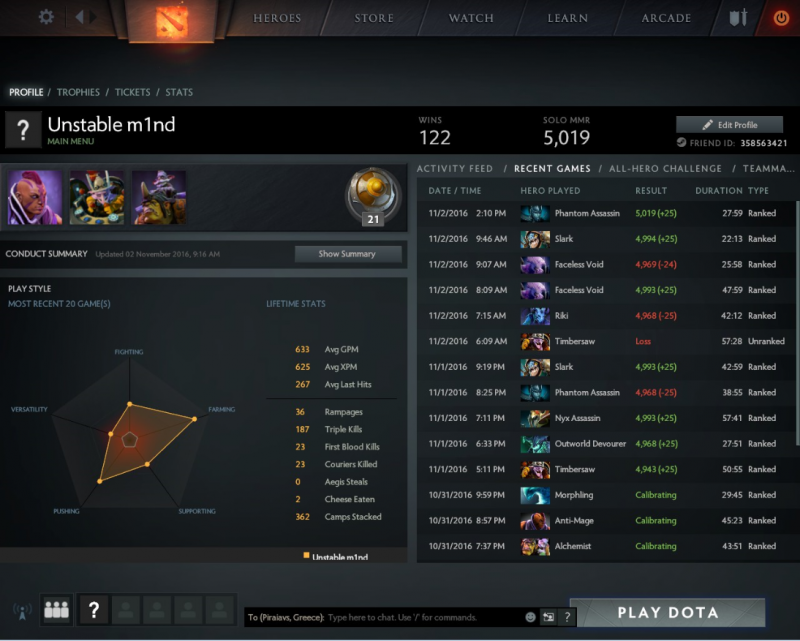 Hello ~ Pulaw 2 dota account 5k solo mmr me 64,60% win rate 184hours game play kai kala stats opos fenonte stin photo. Contacts vie Skype: tokilonryo@Live.jp , WHatsapp : +30 693 646 3560 <br />payment protimo me paypal/ mastercard.